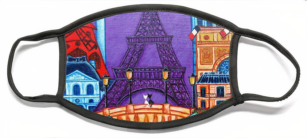 Paris Face Mask featuring the painting Wonders of Paris by Lisa Lorenz