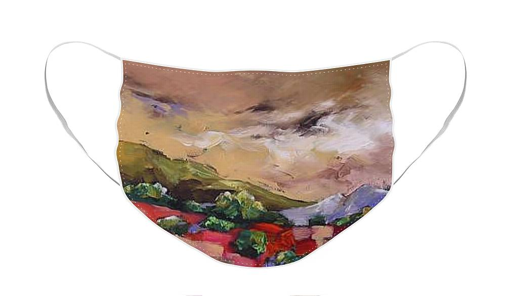 Landscape Face Mask featuring the painting Wondrous by Linda Monfort