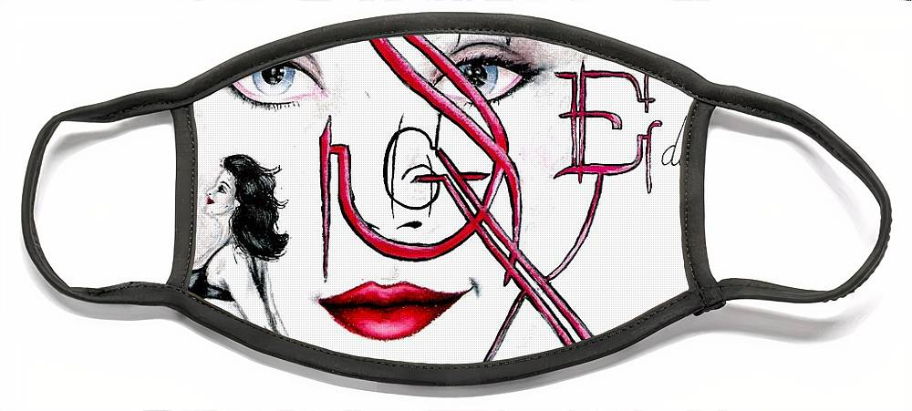Erotic Face Mask featuring the drawing Words of the Dirty Mind by Scarlett Royal