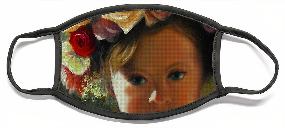 Wreath Face Mask featuring the painting Wreath of Roses by Stephen Lucas