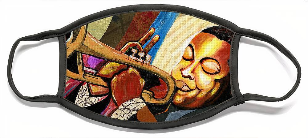 Everett Spruill Face Mask featuring the painting Wynton Marsalis by Everett Spruill