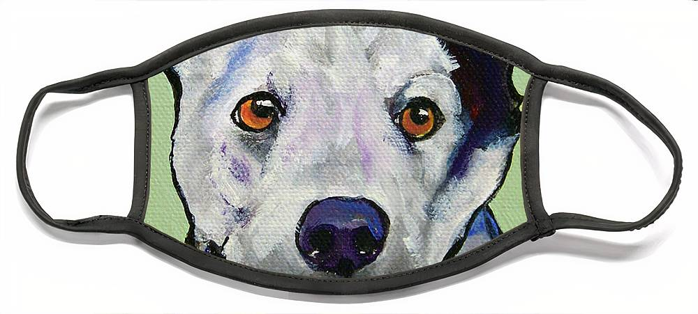 Australian Cattle Dog Face Mask featuring the painting Yellow Ball by Pat Saunders-White