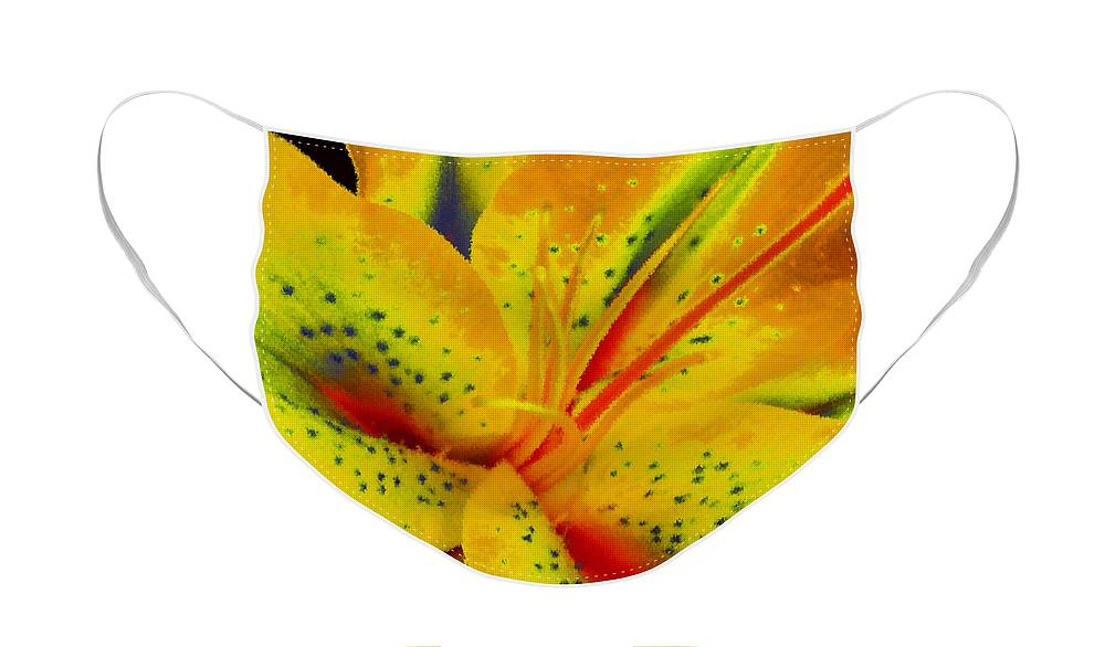 Diane Berry Face Mask featuring the painting Yellow Lily by Diane E Berry