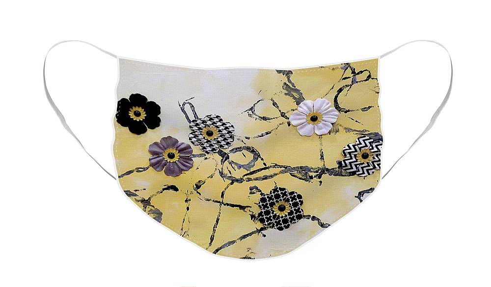 Yellow Chevron Face Mask featuring the painting Yellow N Yarn by Jilian Cramb - AMothersFineArt