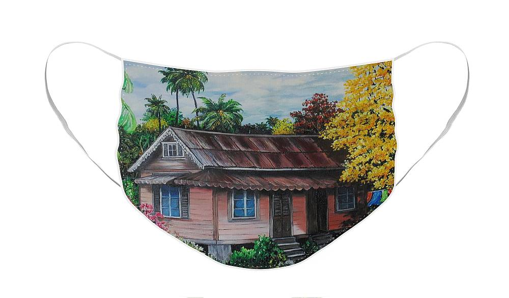 Old House Face Mask featuring the painting Yellow Poui Time by Karin Dawn Kelshall- Best