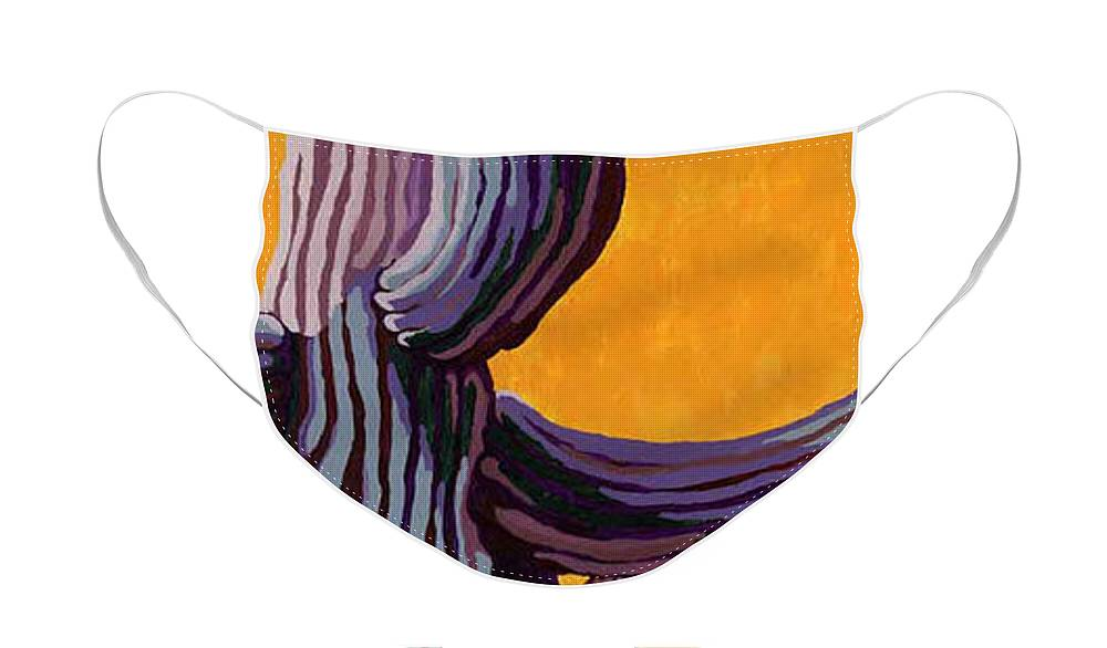 Saguaro Cactus Face Mask featuring the painting Yellow Sky by Sandy Tracey