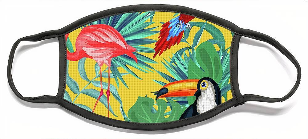 Parrot Face Mask featuring the digital art Yellow Tropic by Mark Ashkenazi