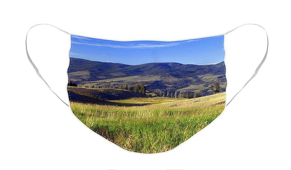 Yellowstone National Park Face Mask featuring the photograph Yellowstone Landscape 3 by Marty Koch