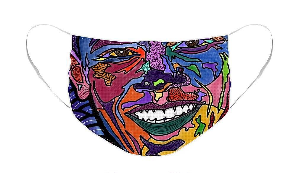 President Obama Face Mask featuring the digital art Yes We Can Obama by Marconi Calindas