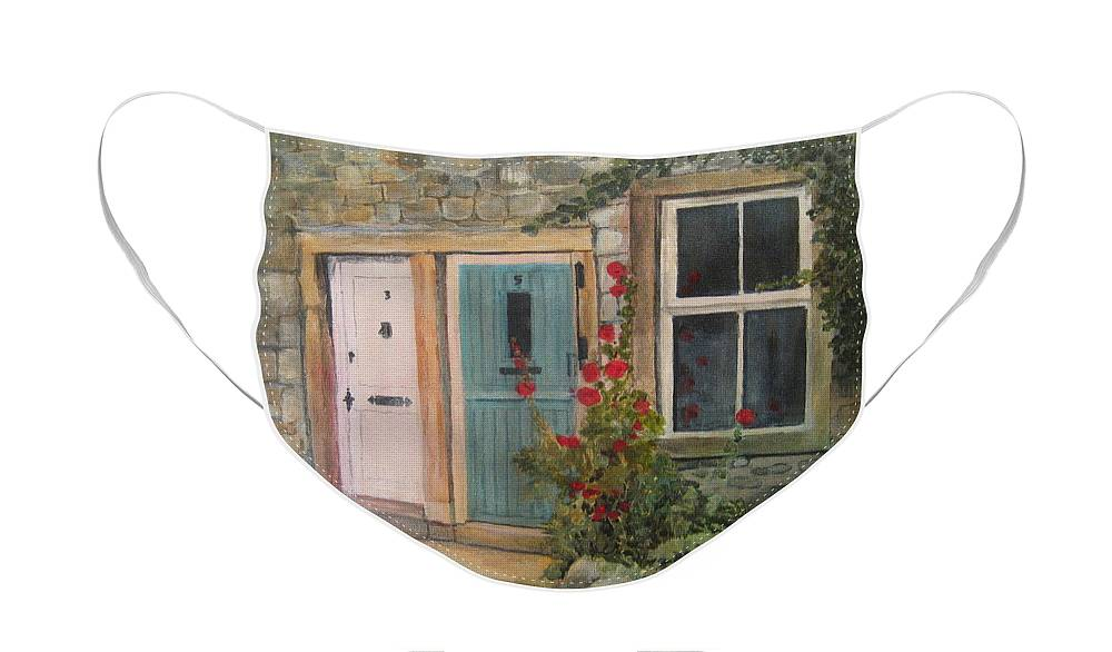 Yorkshire Face Mask featuring the painting Yorkshire Cottages by Victoria Heryet