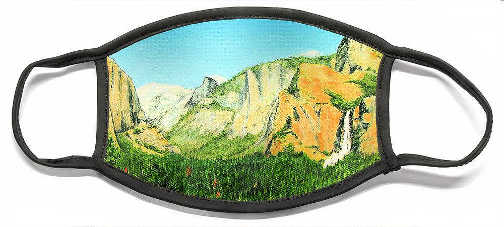 Yosemite National Park Face Mask featuring the painting Yosemite National Park by Jerome Stumphauzer