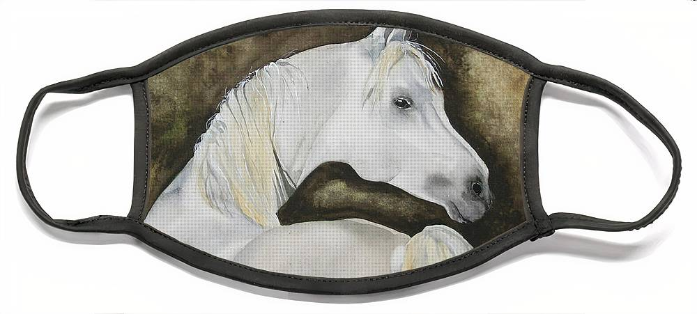 Horse Face Mask featuring the painting You Talking To Me by Jean Blackmer