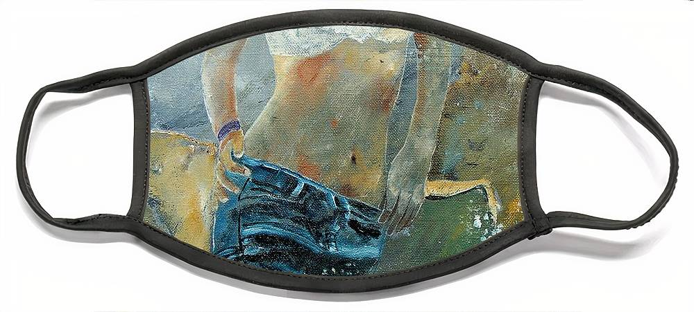 Girl Face Mask featuring the painting Young girl in jeans by Pol Ledent