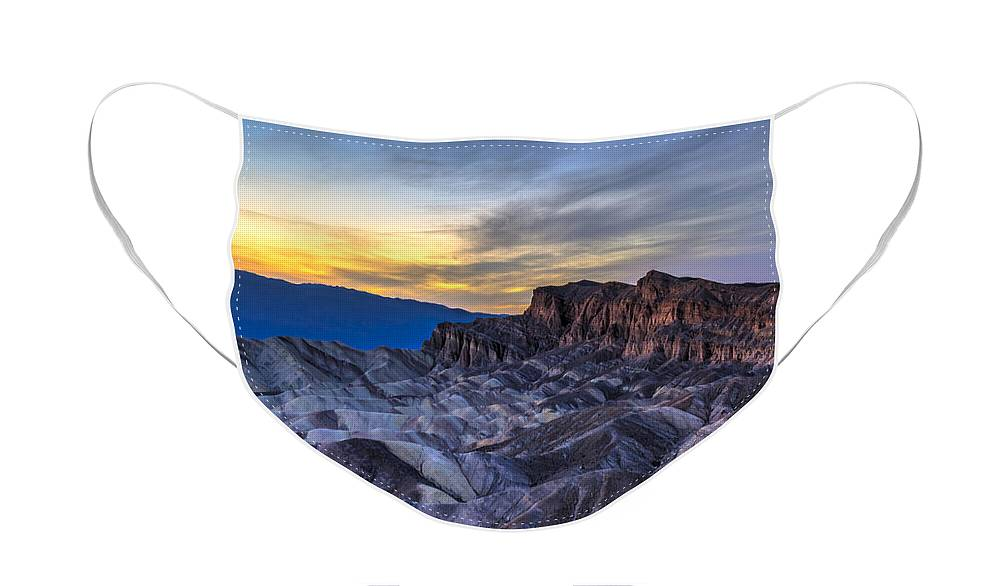 Adventure Face Mask featuring the photograph Zabriskie Point Sunset by Charles Dobbs