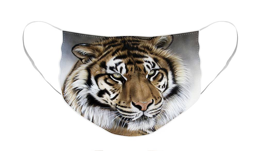 Tiger Face Mask featuring the painting ZEN by Sandi Baker