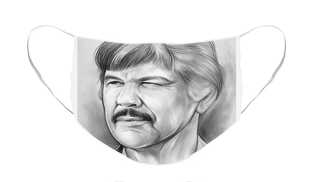 Charles Bronson Face Mask featuring the drawing Charles Bronson by Greg Joens