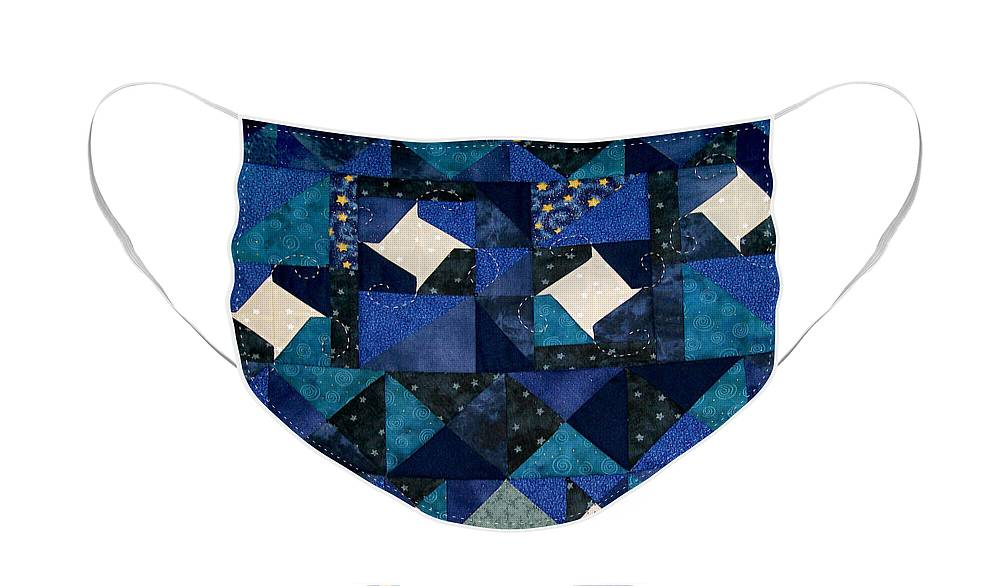 Quilt Winter Snowscape Face Mask featuring the tapestry - textile A Winter Snowscape by Pam Geisel