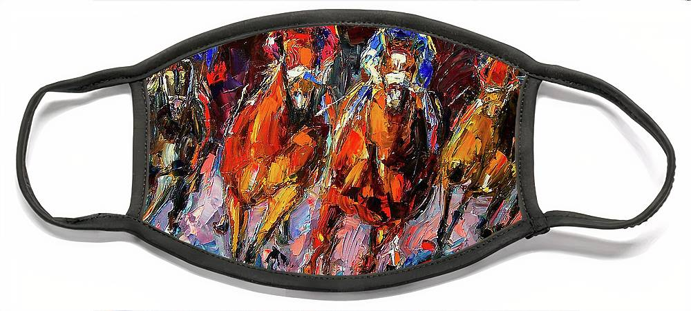 Horse Race Face Mask featuring the painting Adrenalin by Debra Hurd