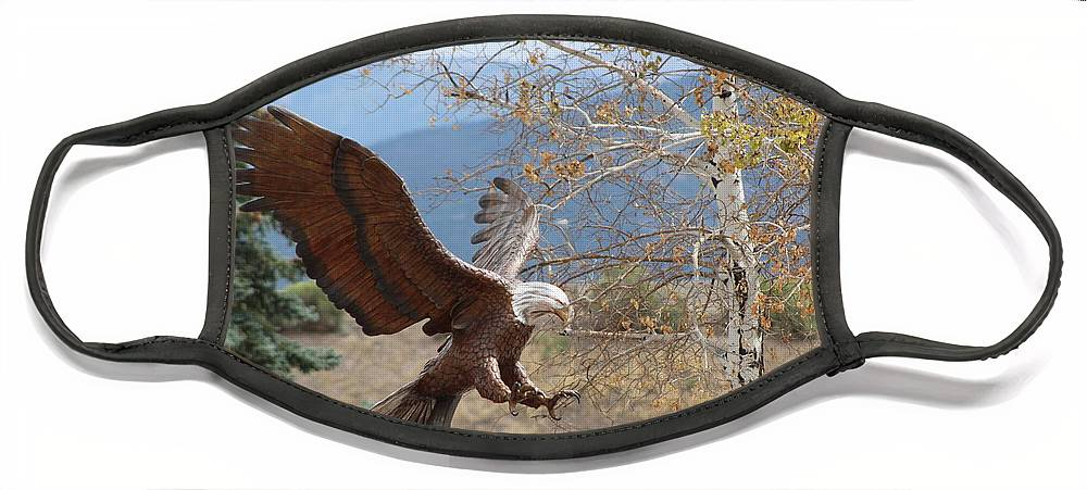 Eagle Face Mask featuring the photograph American Eagle in Autumn by Colleen Cornelius