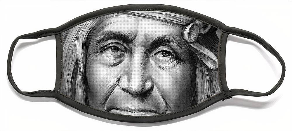 Apache Face Mask featuring the drawing Apache by Greg Joens