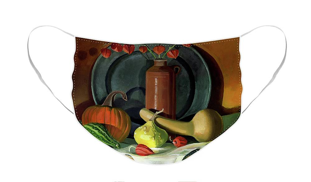 Still Life Face Mask featuring the painting Autumn Still Life by Nancy Griswold