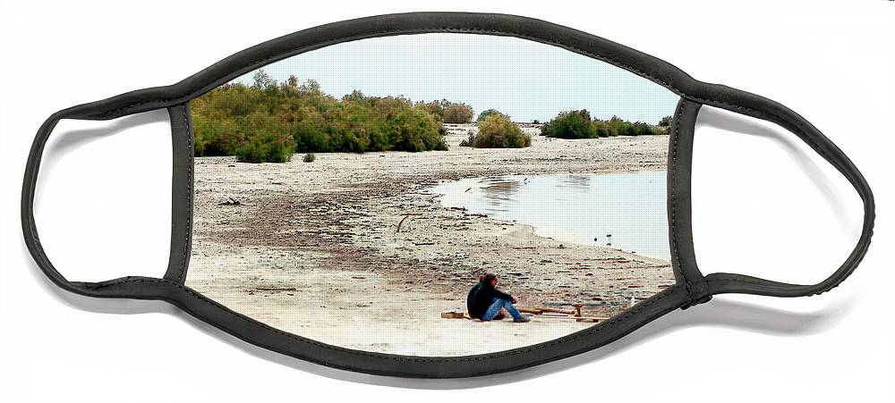 Watercolor Face Mask featuring the photograph Beach Goers-The Salton Sea in Digital Watercolor by Colleen Cornelius