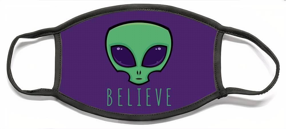 Alien Face Mask featuring the digital art Believe Alien Head by John Schwegel