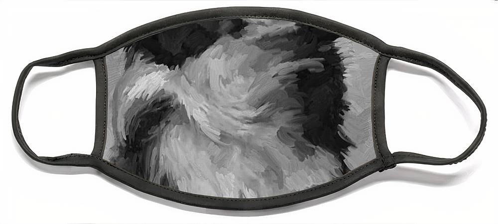 Border Face Mask featuring the painting Black and White Pup by Scott Waters