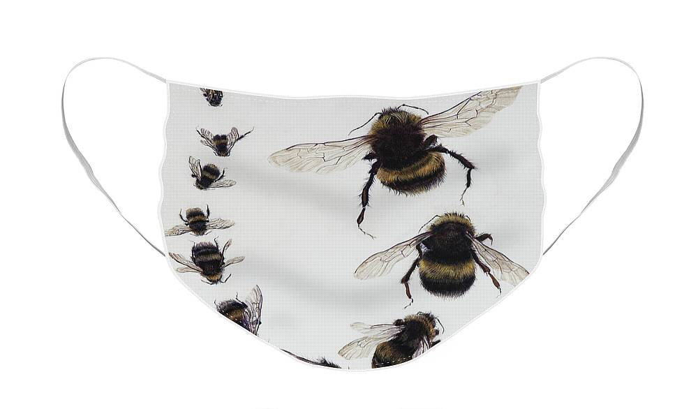 Nature Face Mask featuring the painting Bombus by Odile Kidd