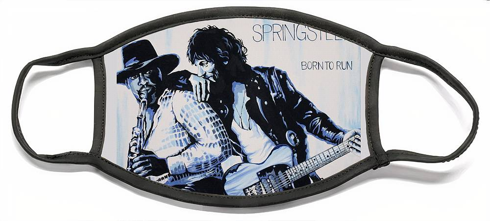 Bruce Springsteen Face Mask featuring the painting Born to Run Bruce Springsteen by Amy Belonio