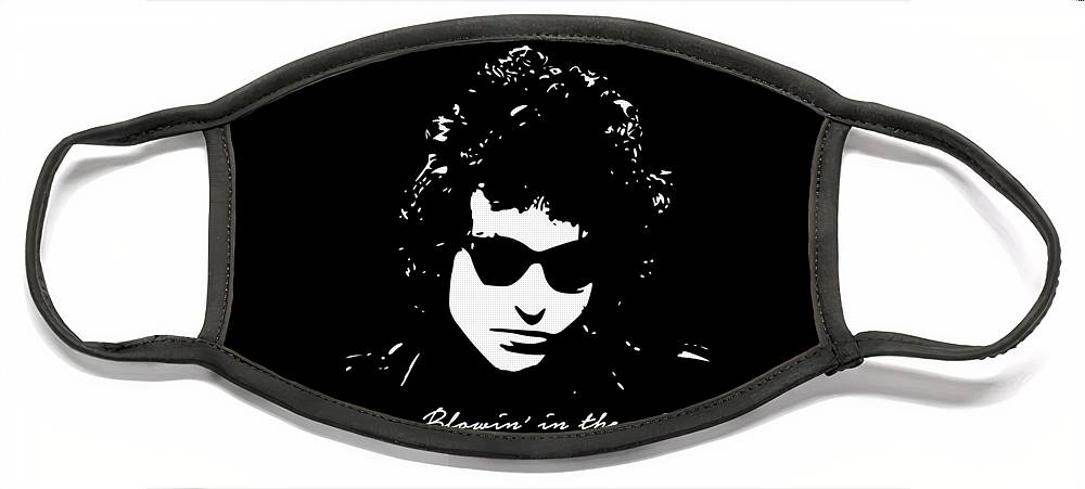 Bob Dylan Face Mask featuring the digital art Bowin' In The Wind by Filip Schpindel