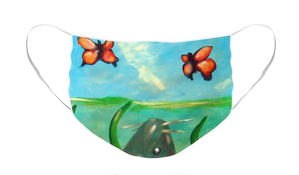 Catfish Face Mask featuring the painting Catfish butterflies by Loretta Nash