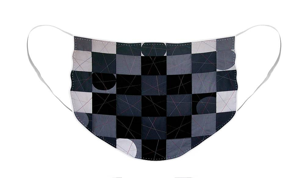 Abstract Face Mask featuring the tapestry - textile Checkers and Pick-up-sticks by Pam Geisel