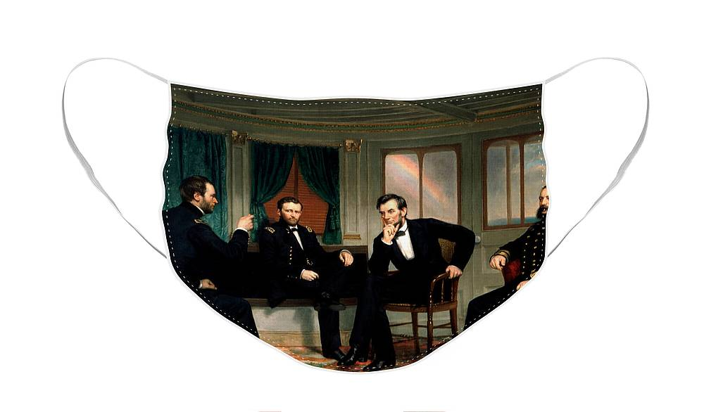 Civil War Face Mask featuring the painting Civil War Union Leaders - The Peacemakers - George P.A. Healy by War Is Hell Store