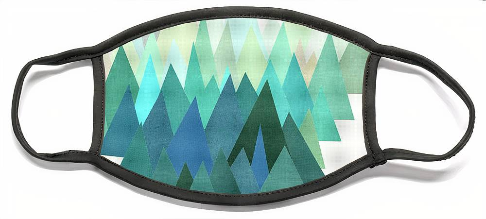 Mountains Face Mask featuring the mixed media Cold Mountain by Cassia Beck