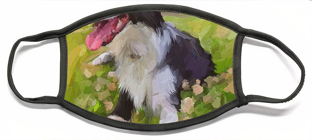 Border Collie Face Mask featuring the digital art Collie Flowers by Scott Waters