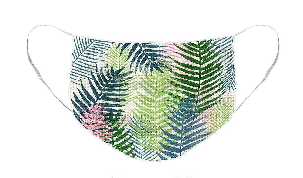 Tropical Face Mask featuring the mixed media Colorful Palm Leaves 2- Art by Linda Woods by Linda Woods