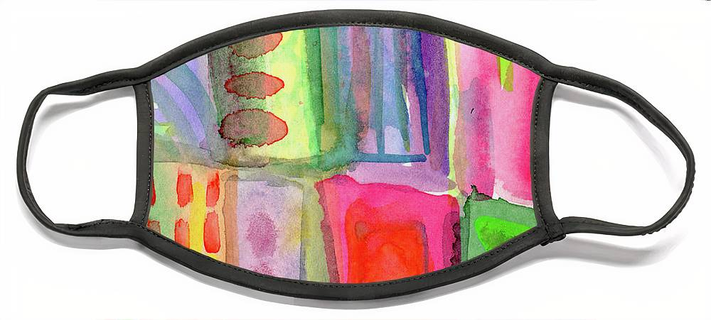 Colorful Face Mask featuring the painting Colorful Patchwork 2- Art by Linda Woods by Linda Woods