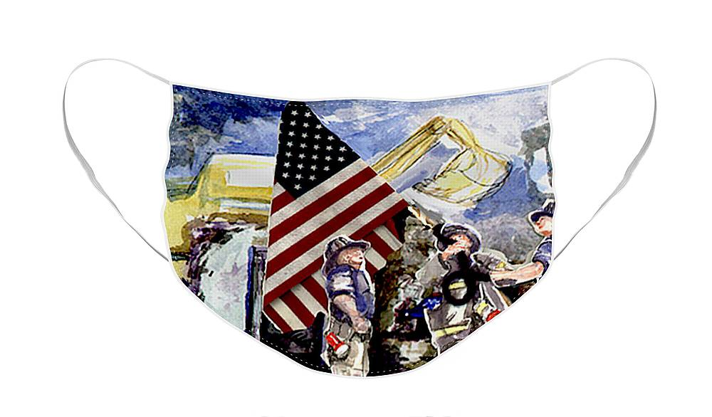 Face Mask featuring the painting Dan George and Bill at Ground Zero 2001 by Elle Smith Fagan
