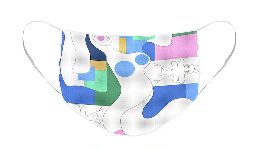 Modern Face Mask featuring the painting Dancing by Hildegarde Handsaeme