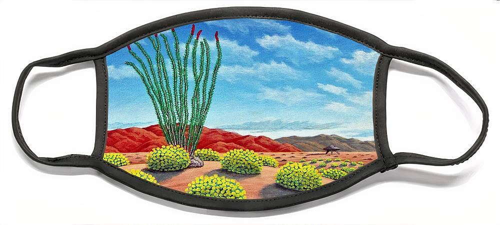 Desert Face Mask featuring the painting Desert Landing by Snake Jagger
