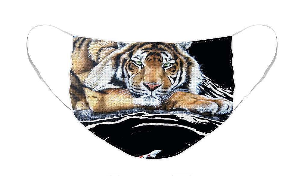 Tiger Face Mask featuring the painting Dragon Seeker by Sandi Baker