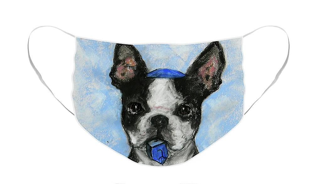 Boston Terrier Face Mask featuring the drawing Dreideler by Cori Solomon