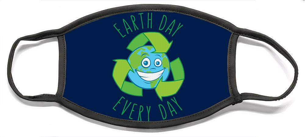 Green Face Mask featuring the digital art Earth Day Every Day Recycle Cartoon by John Schwegel