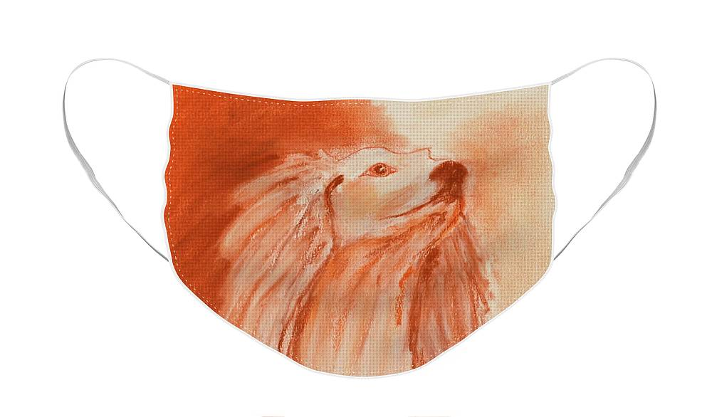 Saluki Face Mask featuring the drawing Enlightenment by Cori Solomon
