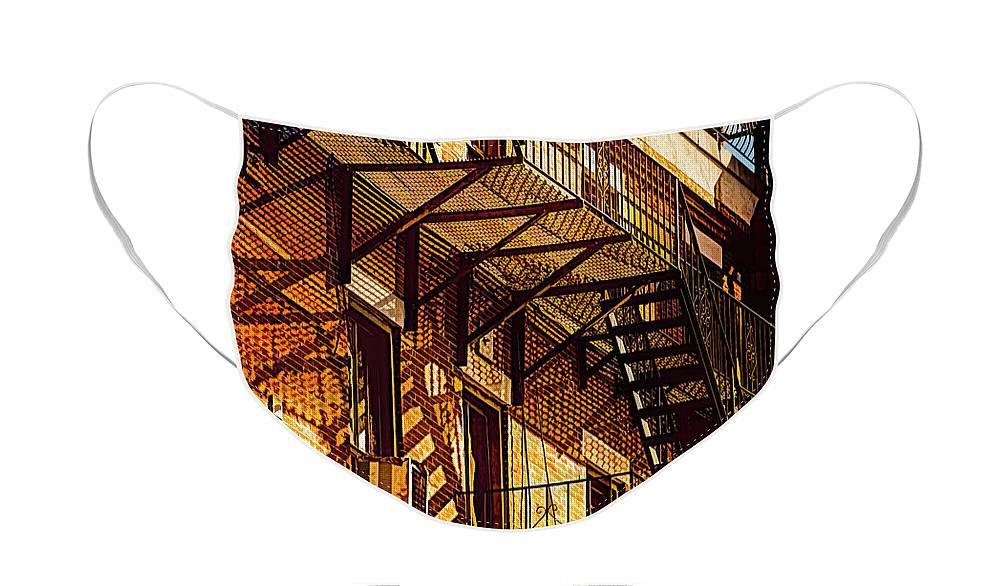 Fire Escape Face Mask featuring the digital art Escape by Mike Braun