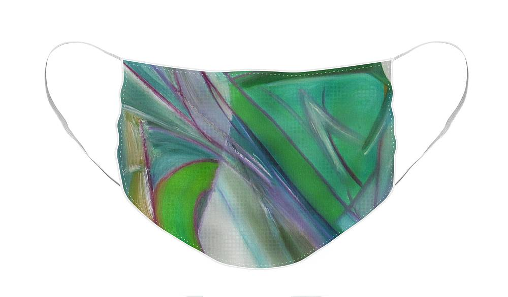 Green Face Mask featuring the painting Geometric Tension series II by Patricia Cleasby