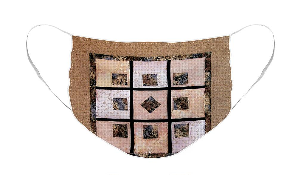 Art Quilt Face Mask featuring the tapestry - textile Golden Frost on the Window by Pam Geisel