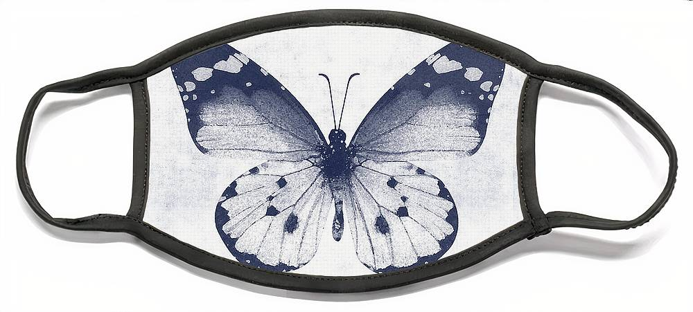 Butterfly Face Mask featuring the mixed media Indigo and White Butterfly 1- Art by Linda Woods by Linda Woods