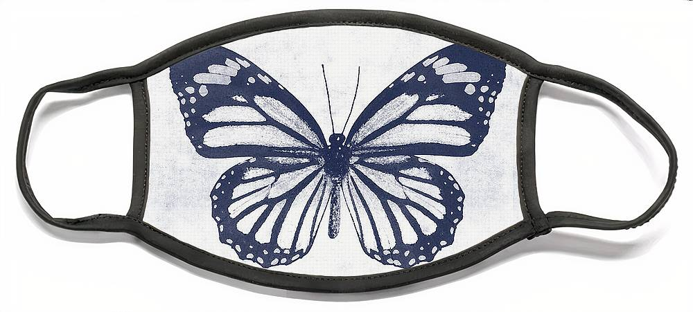Butterfly Face Mask featuring the mixed media Indigo and White Butterfly 3- Art by Linda Woods by Linda Woods